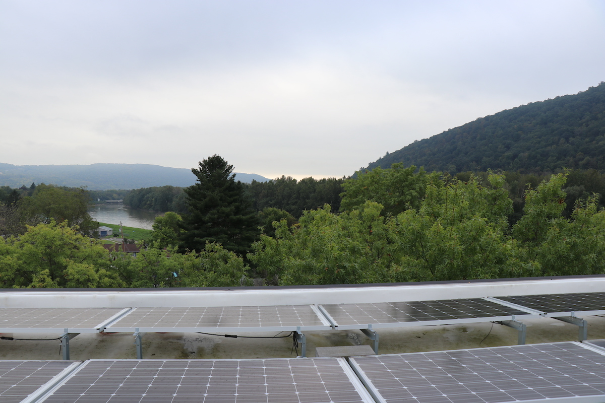 After the flood, Foundation Housing helped to fund solar panels on the roof of Chemung View. The panels help the property cut down on electricity costs.