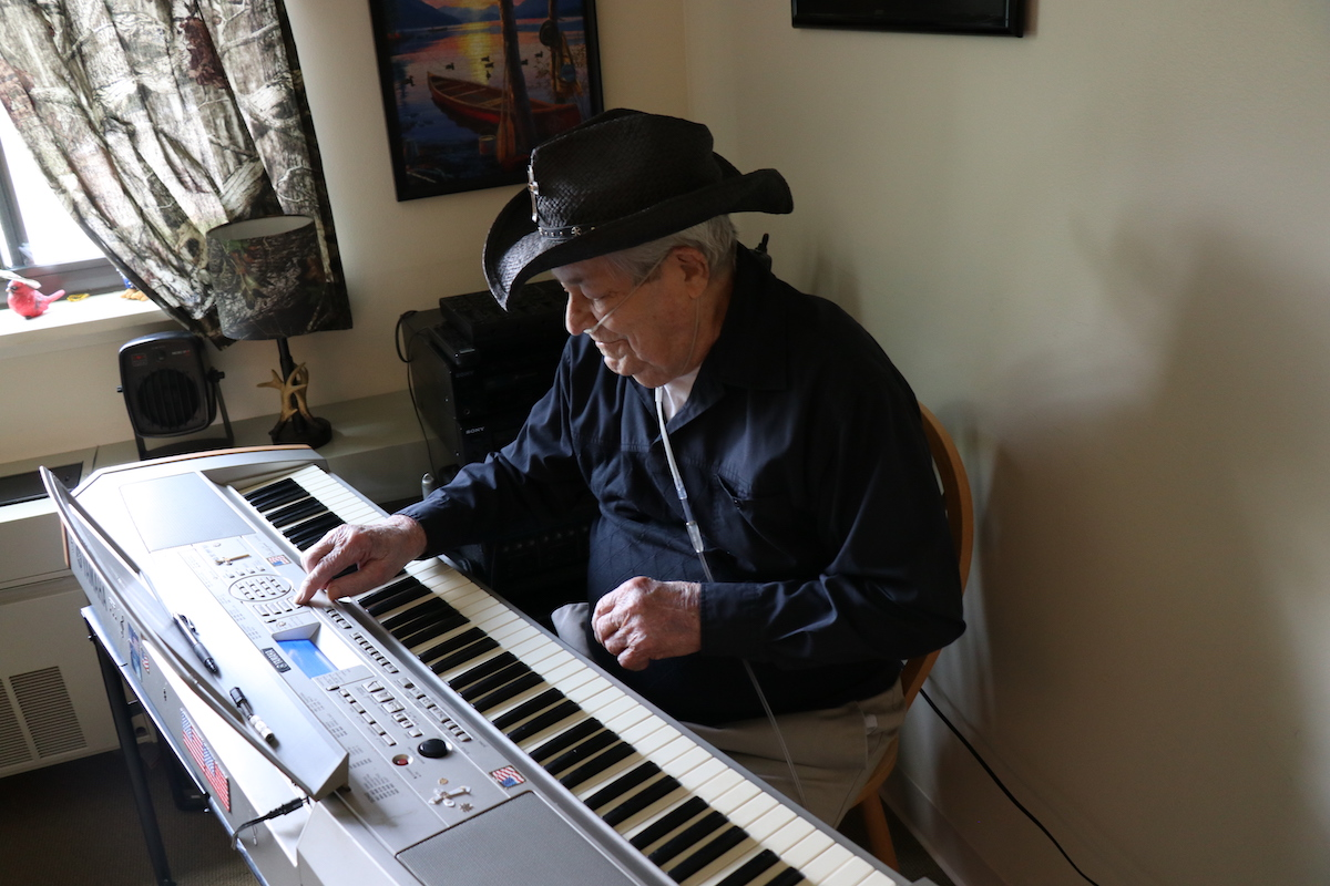 "Con, who is 92-years old, loves playing his electric keyboard in his apartment. ""I think  music keeps me alive."" He says he is very grateful for Chemung View. ""I live here because it's hard to get an apartment that's decent and that's as comfortable as this is - and it's affordable."""